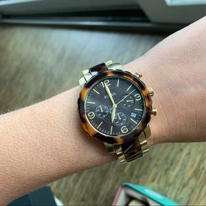 Fossil tortoise gold watch